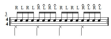 Single Stroke Rudiments - Exercise 3 - Accents in groupings of 4